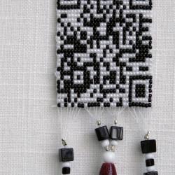 """Matrilineage: Sis hand-beaded QR code"""